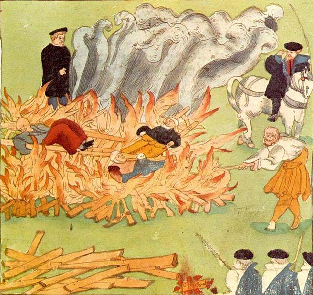 Burning of three witches in Baden, Switzerland (1585), by Johann Jakob Wick. Zentralbibliothek Zürich