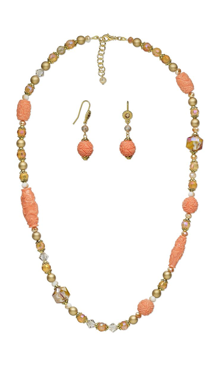 jewelry design single strand necklace and earring set with celestial crystal glass beads