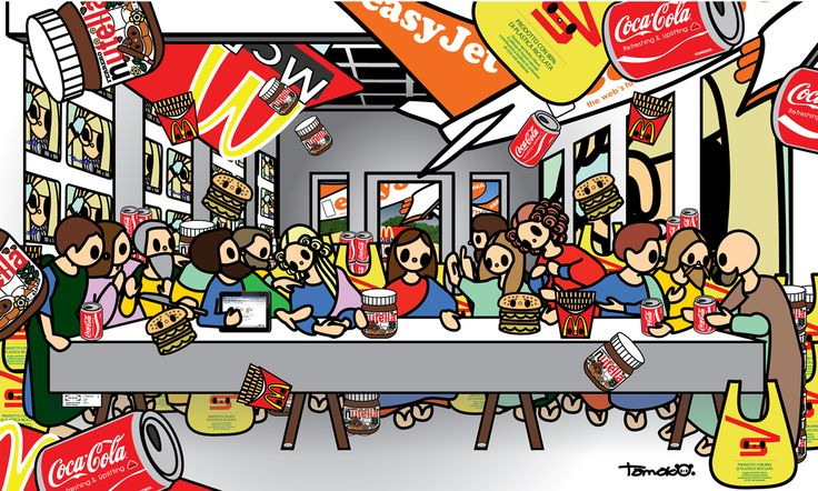 Tomoko Nagao, Leonardo da Vinci - The Last Supper with MC, easyjet, coca-cola, nutella, esselunga, IKEA, google and Lady Gaga