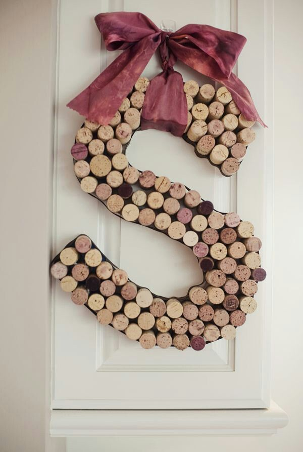 Wine cork initial wreath crafty pinterest