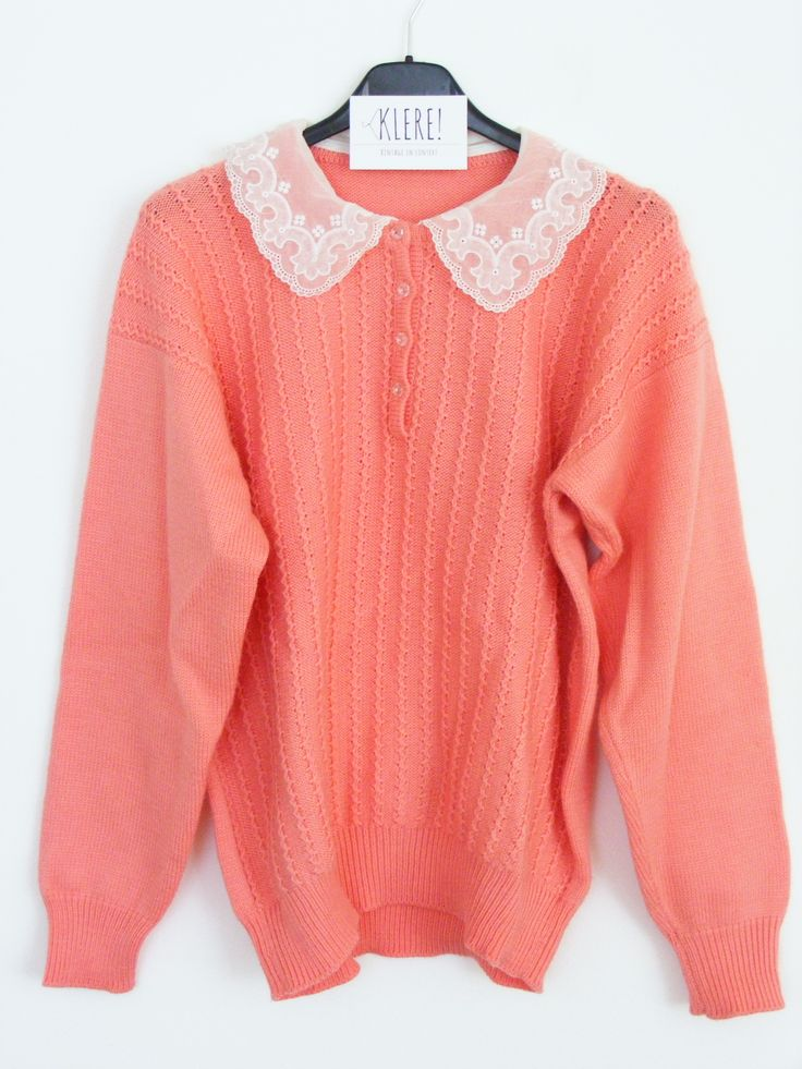 1950s pink sweater with lace details