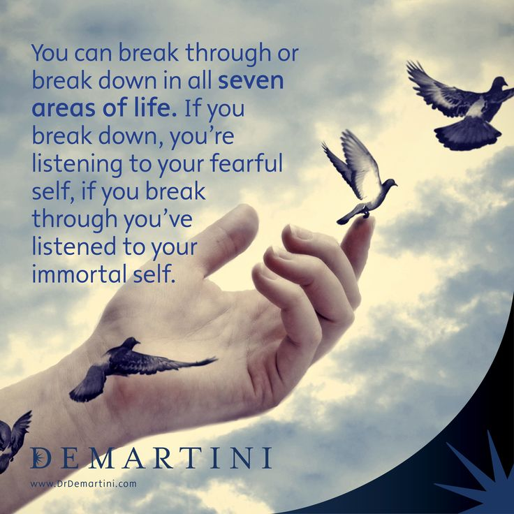 You can break through or break down in all 7 areas of your life. If you break through you've listened to your immortal self. Dr John Demartini  www.DrDemartini.com www.Facebook.com/DrJohnDemartini