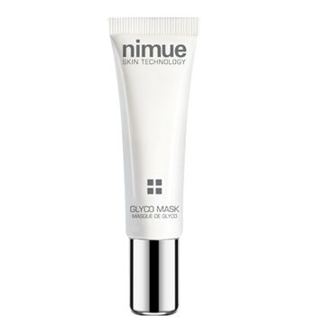 Nimue Skin Technology  Glyco Mask:  The Glycolic mask has been developed as a rapid flash mask treatment that can be applied when a quick radiance or exfoliation boost is needed.  The product is a clay mask that will purify the skin whilst the actives will allow for immediate tightening and exfoliation whilst moisturizing.  The result is a radiant, tightened and glowing skin.