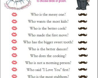 24 Personalized FAMOUS COUPLES Bridal Shower Game by Print4U