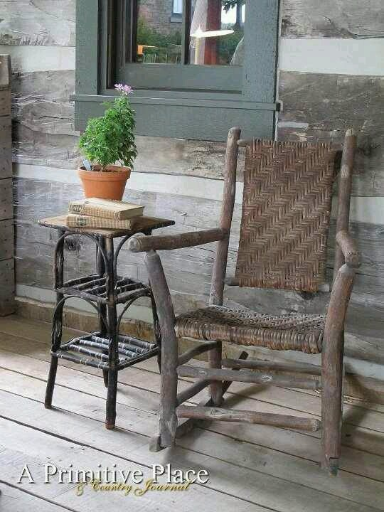 The Old Cane Rocker.Old Barnwood Porch And Siding And The Little Handmade  Table.