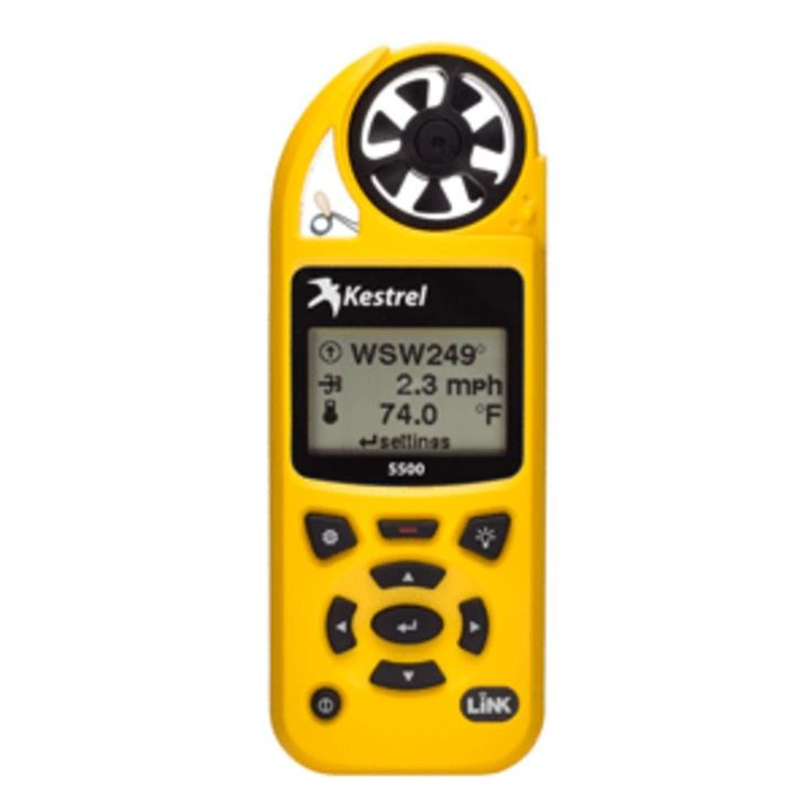 Kestrel 5500 Pocket Weather Meter w-Link + Vane Mount - Yellow. 5500 Pocket Weather Meter with Link + Vane Mount - YellowThe worlds most complete weather meter AND the worlds most portableweather station. Lightweight, handheld, multi-function weather meter anddata logger with large sunlight-readable graphing display and tripod vanemount option.Features: Measures wind speed, temperature, humidity, pressure and direction. 14 total meteorological parameters measured, calculated and…