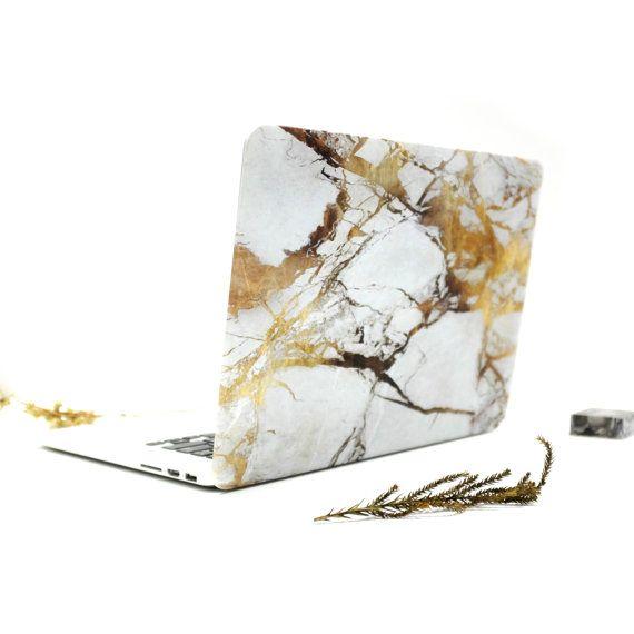 Gold marble MacBook matt case. by insitufolder on Etsy