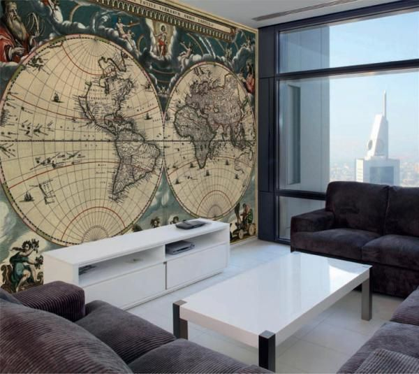 Tasteful Antique World Map With Rich Teals And Rusted Creams For A Living Room