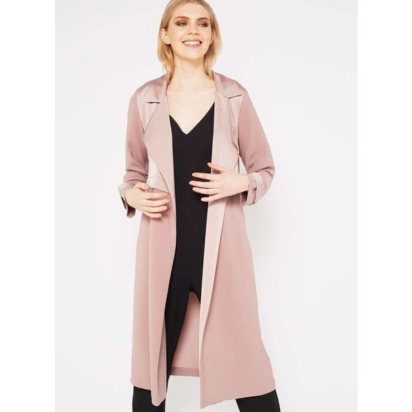 Miss Selfridge Blush Matt and Shine Duster Coat (205 SAR) ❤ liked on Polyvore featuring outerwear, coats, powder blush, miss selfridge coats, duster coat, pink duster coat, miss selfridge and matte coat