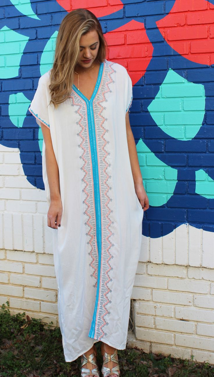 Hibiscus Embroidered Caftan