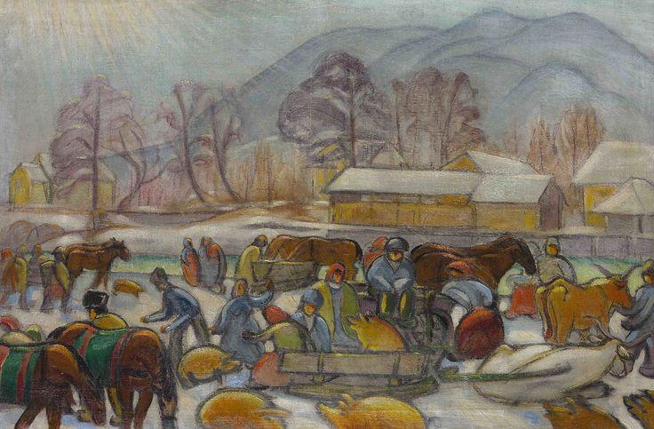 File:Tibor Boromisza - Sunbeams at Wintertime at a Fair in Baia Mare 70X106 oil on canvas 1913.jpg
