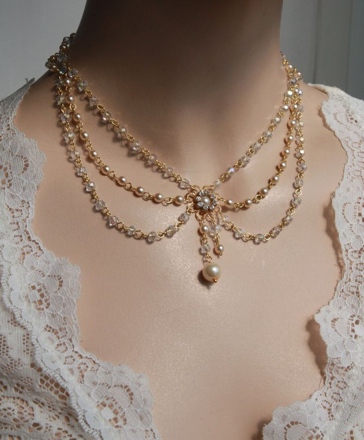 Bridal Necklace Swarovski Crystals ,Ivory Pearls, Vintage, Art Deco, Rhinestone And Pearls, Wedding Jewelry, Victorian, Lacey Collection.  via Etsy.