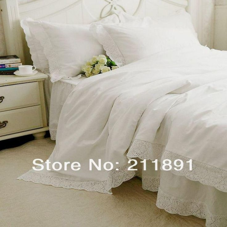 Newest White Lace bed skirts princess bedding set queen king 4pcs bedspread duvet cover bed sheet bedclothes cotton home textile