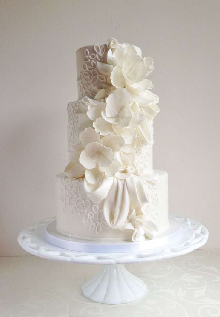 - Draping, ruffles, floral and piping love :) #cakerecipe #food