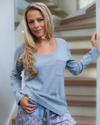 Eva Long Sleeve Knitted Top And Paisley Printed Shorty Set