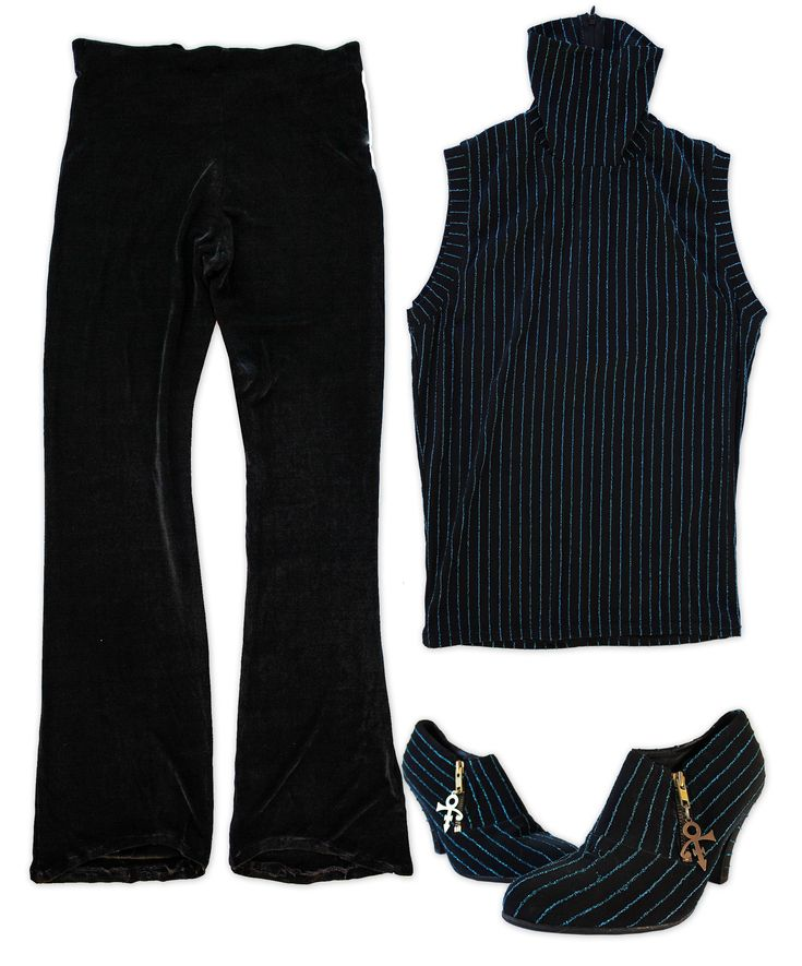 Four piece outfit personally worn by Prince. Outfit consists of shirt, pants, shoes and socks: (1