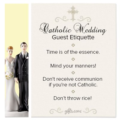 Wedding Gift Bag Etiquette : Catholic Wedding Guest Etiquette on: http://blog.gifts.com/etiquette ...