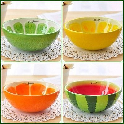 Hand Painted Ceramic Bowl Rice & Fruit Cute Bowl CJ180[cj180-4 Watermelon,1]
