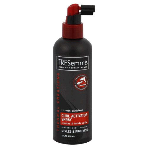 My hair is super straight and super fine and I can get all day curls with this. Spray on dry hair, blow dry for one minute, then curl away!.. This is for you @Jordan Bromley Bromley Wilson