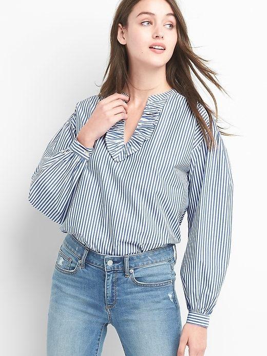 24bb87d1144f01 Gap Women s Stripe Ruffle V-Neck Shirt Blue Stripe