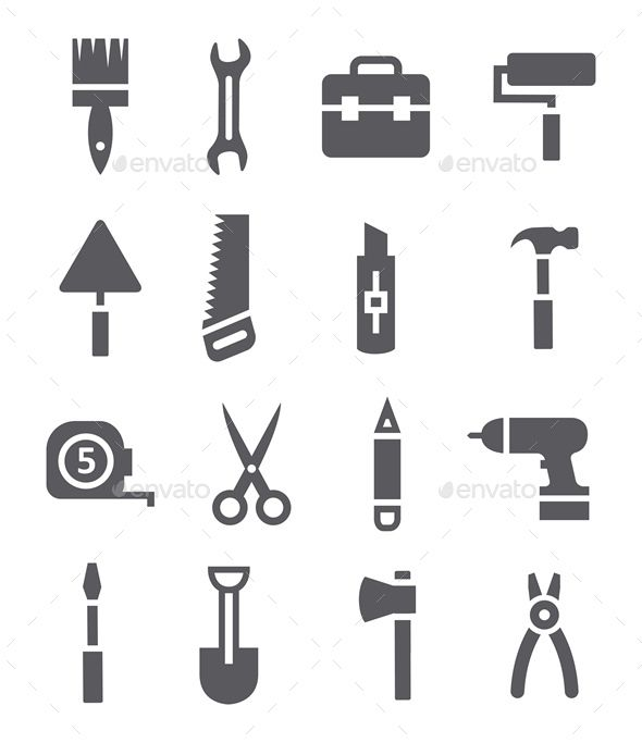 Tools Icons — Vector EPS #scissors #saw • Available here → https://graphicriver.net/item/tools-icons/10905002?ref=pxcr