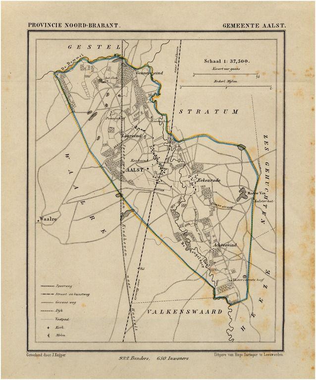 Aalst, Plattegrond van de gemeente Aalst. Suringar, H.; Kuyper, Jacob 1865