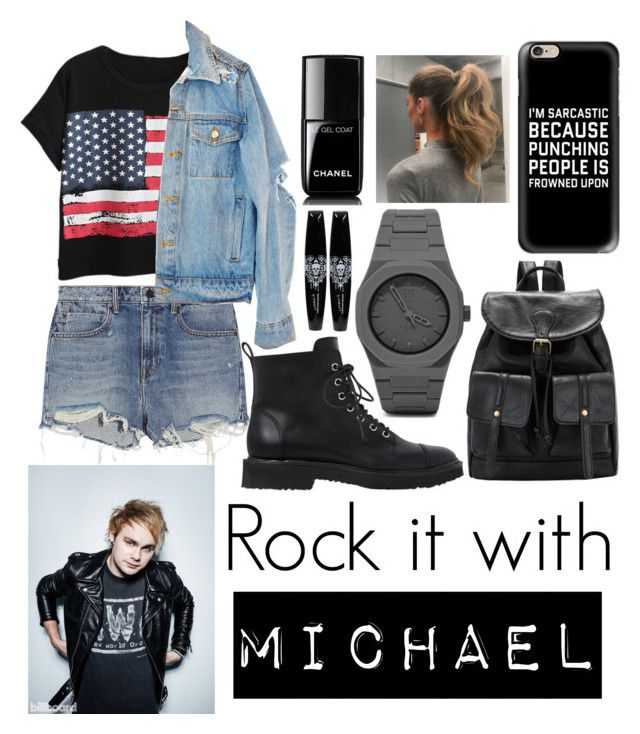 """Rock with Michael Clifford"" by beatrigitaa on Polyvore featuring Chicnova Fashion, Alexander Wang, Giuseppe Zanotti, Casetify, CC and Chanel"