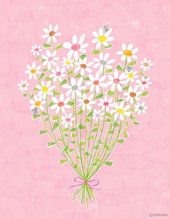 Bouquet With Little Rabbits   Art Print