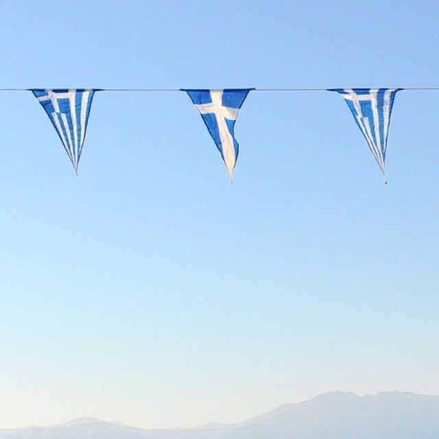 The blueness of the sea, the whiteness of the air and the brightness of the sun are all here, in these little flags.
