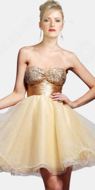 A-line Sweetheart Organza Short/Mini Gold Sequins Homecoming Dress