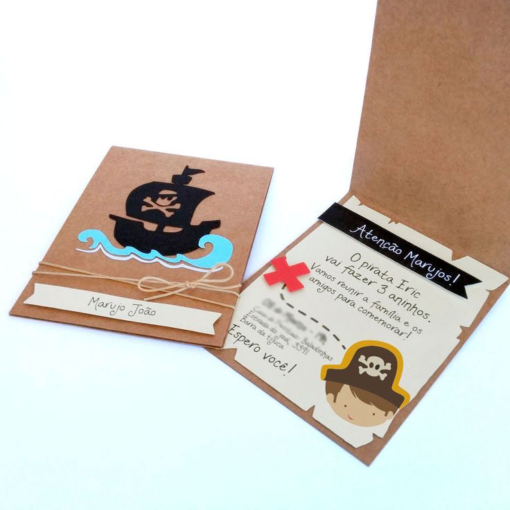 Convite Navio -  Pirata  #festainfantil #convite #pirata