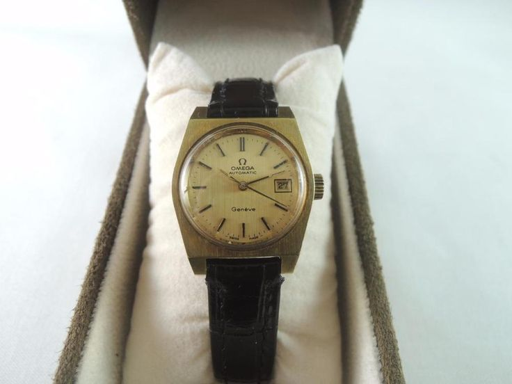 Authentic 1980 OMEGA 5660046 Geneve Date. Style- 5660046. Movement- OMEGA Geneve Date 684 Automatic 24J. Model- OMEGA Geneve Date. AUTHENTIC OMEGA WOMEN'S WATCH. Dial- OMEGA Gold Dial and Black/Gold Time stamp & Black/Gold Time indication. | eBay!