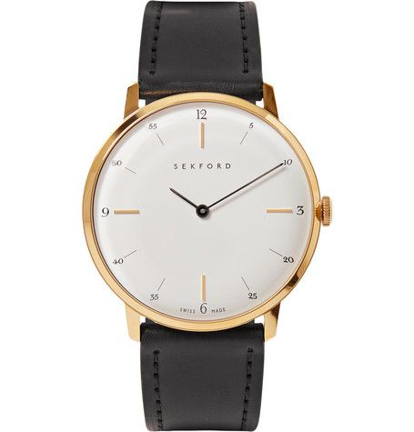 When the Sekford team set about researching the history of horology, it acquired an appreciation for the intricate lettering and clarity of traditional pocket-watch dials. Exemplifying the quintessential functionality of timepieces, the brand's 'Type 1A' watch is clean-lined, classic and ageless. It's been meticulously crafted in Switzerland with a gold PVD (Physical Vapor Deposition) bezel, which was originally used by the military to reduce friction and wear. This fuss-free ...