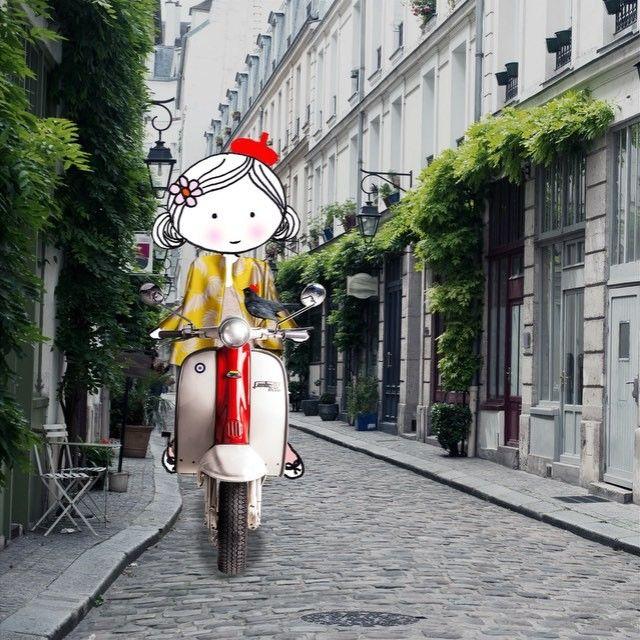 Annelinde Tempelman / Op een scooter in Italië