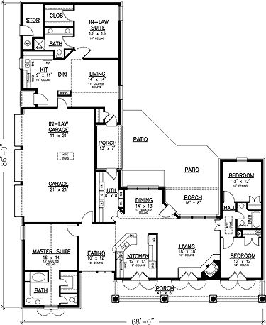 Like the separate apartment and 3 car garage floor plans for Garage apartment plans 1 story