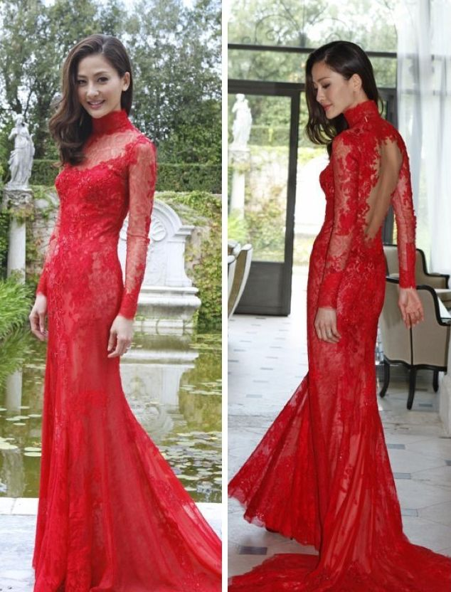 Mermaid cut long sleeved lace bare back red qipao cheongsam