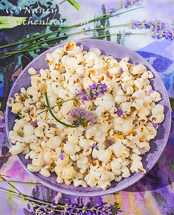 Make best tasting herbed popcorn ever. Fresh chives, fresh or dried culinary lavender, + lemon & thyme. Steeping the butter in herbs is the key.