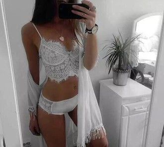 underwear robe bralette lingerie pajamas lace white shirt