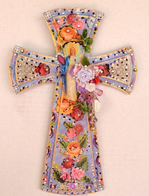 Crucifix Religious Cross Virgen de Guadalupe by OliviabyDesign