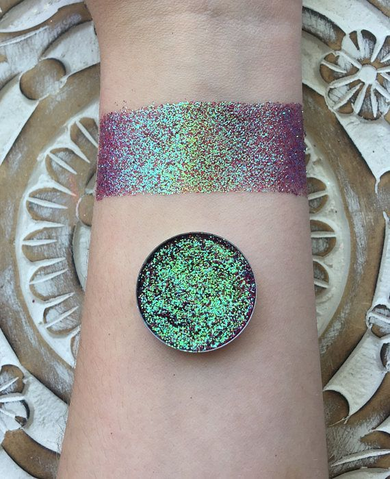 Lava storm iridescent pressed glitter eyeshadow, 26mm magnetic pan or jar, cosmetic grade glitter, red and green shifting colors