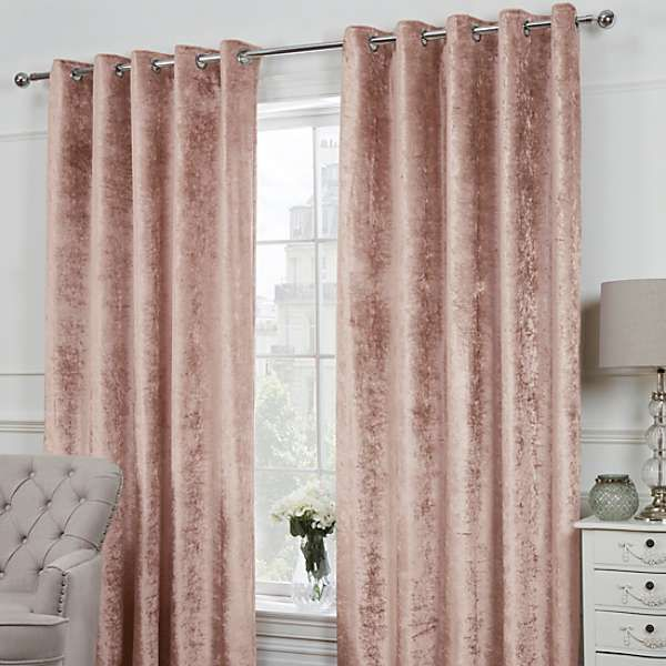 Crushed Velvet Pair Of Eyelet Lined Curtains In 2020 (With