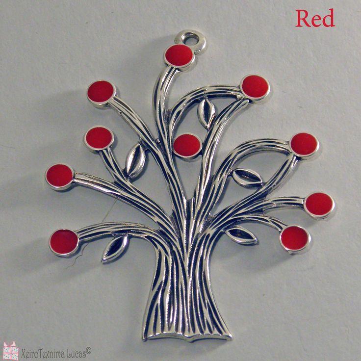 Το δέντρο της ζωής ως μεταλλικό στοιχείο για γούρια και διακόσμηση. Διατίθεται με σμάλτο σε διάφορα χρώματα. Tree of life charm with enamel made in Greece.
