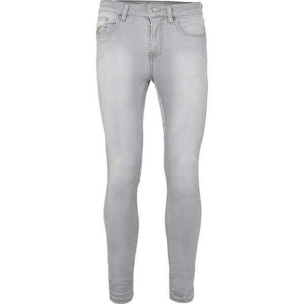 TOPMAN Bleach Wash Grey Super Spray On Skinny Jeans ($49) ❤ liked on Polyvore featuring men's fashion, men's clothing, men's jeans, grey, mens grey jeans, mens grey skinny jeans, mens super skinny jeans, mens skinny fit jeans and mens bleached jeans