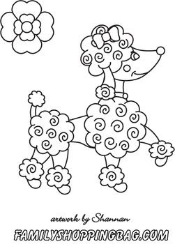 Poodle color page {poodle birthday party activity}