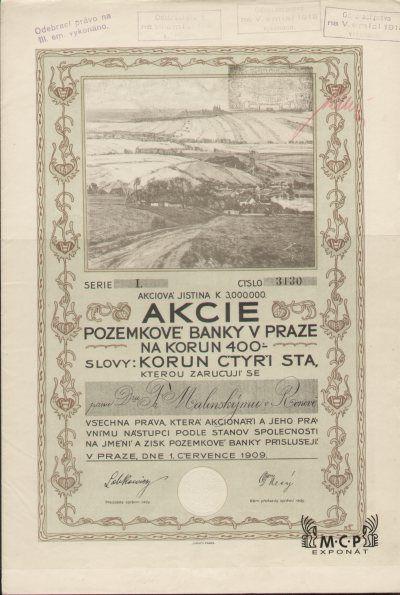 Muzeum cennych papiru  A1004 POZEMKOVÁ BANKA V PRAZE 1909
