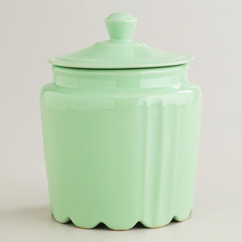 Mint Scalloped Jar at Cost Plus World Market >> #WorldMarket Vintage Cool