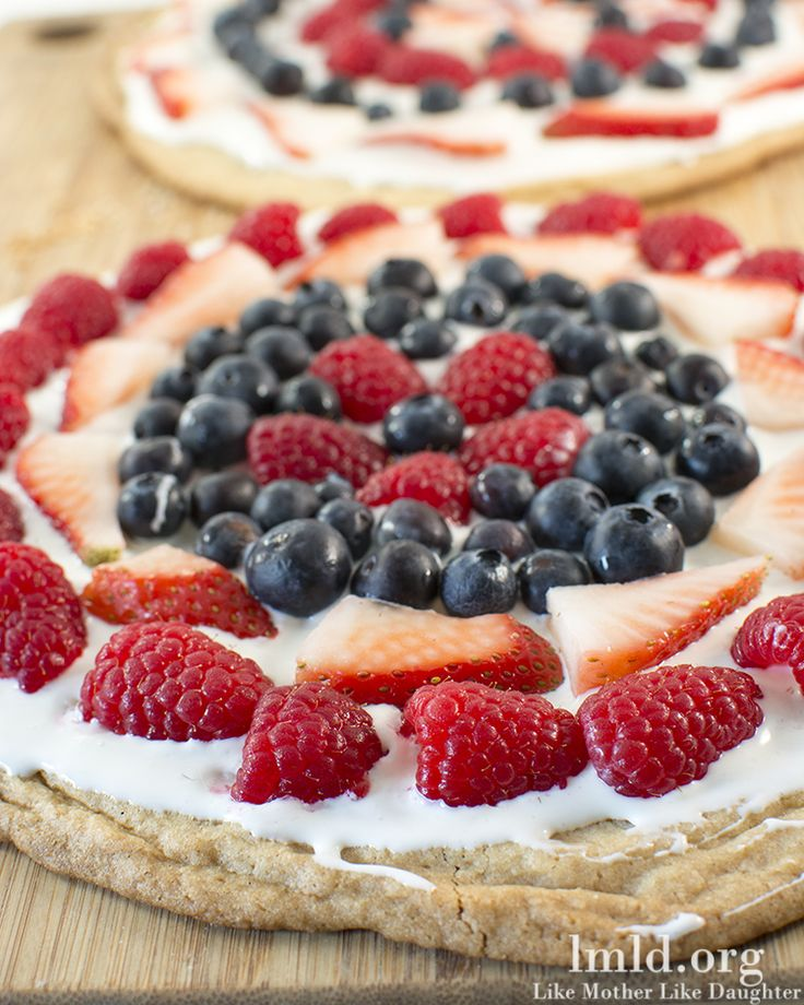 Red White and Blue Fruit Pizza - Like Mother Like Daughter