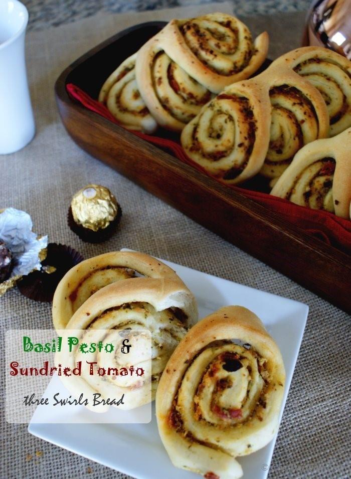 Swirls Breakfast Bread Rolls with Basil Pesto and Sun-dried Tomato ...