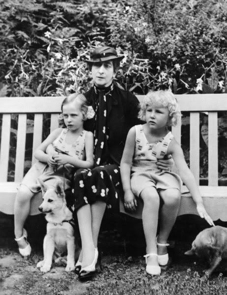 """Queen Maud of Norway with her granddaughters, Ragnhild (left) and Astrid, in 1937. Daughters of Maud's only child, Crown Prince Olav, married Princess Martha of Sweden in 1929. """