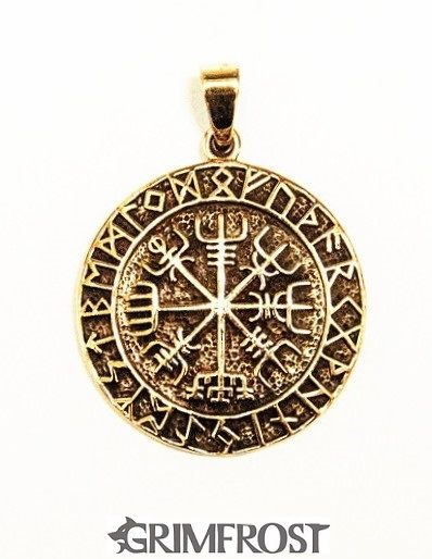 "Vegvisir Amulet, Bronce... The Vegvísir is an Icelandic magical symbol of navigation, also known as the ""Runic Compass"". The old Norse word translates to 'guidepost' or 'direction sign'. An old manuscript declares that ""if this sign is carried, one will never lose one's way in storms or bad weather, even when the way is not known"". http://grimfrost.com/en/viking-jewelry/silver/vegvisir-amulet-silver-1.html"